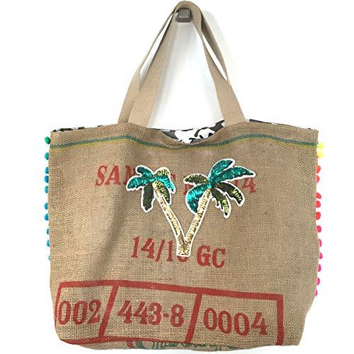 FISH IN THE SEA IBIZA Palme Camouflage Pailletten Shopper Naturprodukt kaffeesack Jute Einkaufstasche