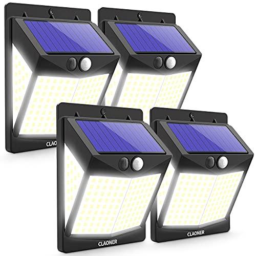 Claoner Solarlampen für Außen, [4 Stück] 140 LED Solarleuchten Aussen mit Bewegungsmelder, 3 Modi 270° Superhelle Solar Aussenleuchte 2000mAh IP65 Wasserdichte...