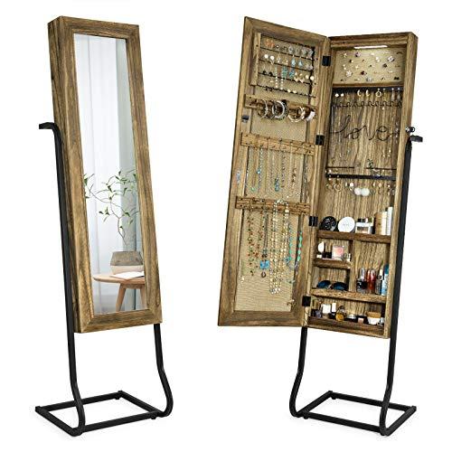 SRIWATANA Armario para joyas de pie con espejo de madera maciza, organizador de joyas con luz LED, espejo de pie con joyero