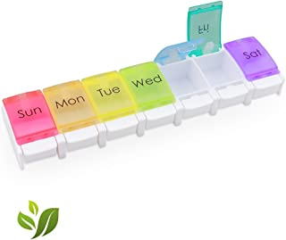 Daily Pill Organizer 7 Day, Weekly Pill Case Organizer Large Compartment, Travel Pill Container Small with Easy Open Design, Medication Pill Case Box for Purse To Store Vitamins, Fish Oil
