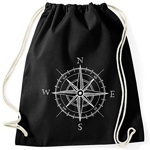 MoonWorks Turnbeutel Wind-Rose Kompass Hipster Beutel Tasche Sportbeutel Gymsac Gymbag schwarz Unisize