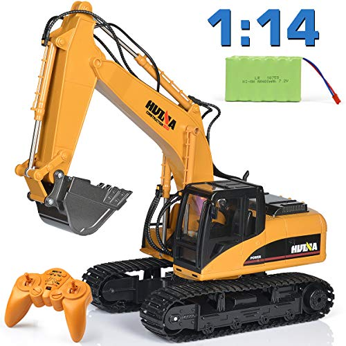 Remote Control Excavator Toy 1/14 Scale RC Excavator, Full Functional Construction Vehicles 15 Channel Rechargeable RC Truck with Metal Shovel and Lights Sounds