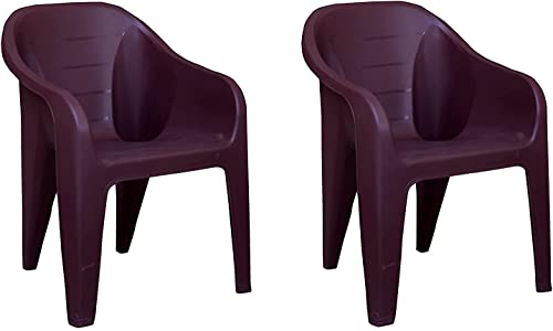 Plastic Chair Brown Color Matt and Gloss Pattern Single Chair for Home Living Room Bearing Capacity Upto 200 Kg Strong and Sturdy Structure Brown Eezy Set of 2