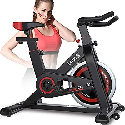 Dripex Upright Exercise Bikes (Indoor Studio Cycles) - Studio Quality with Heart Rate Monitor, Large Bidirectional Flywheel, Belt Drive, Infinite Resistance, LCD Displays, Hand Pulse?2019 Model,932?