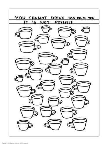 Grappige humoristische 'David Shrigley drinken te veel thee' Nieuwigheid ansichtkaart