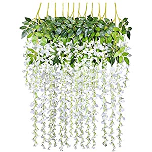Ulalaza 12PCS 3.6FT Wisteria Artificial Flowers Garland Fake Hanging Vine Silk Flower String Greenery Rattan for Wedding Party Garden Home Decor