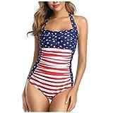 YAnGSale Women's Swimsuit One Piece Swimwear American Flag Beachwear Monokini Adult Bathing Suit Surfsuit (Red, L)