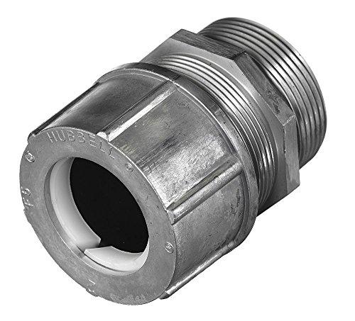 "Hubbell SHC1061 Kellems Wire Management Cord Connectors, Straight Male, Aluminum, 1-1/2"" Hub, 1.38-1.50"" Diameter"