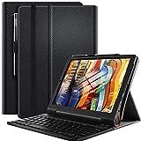 ELTD Tastatur Hülle für Lenovo Yoga Smart Tab (Deutsches QWERTZ), Ständer PU Schutzhülle Hülle mit magnetisch Abnehmbarer Kabellose Tastatur für Lenovo Yoga Smart Tab 10,1 Zoll 2019 (Schwarz)