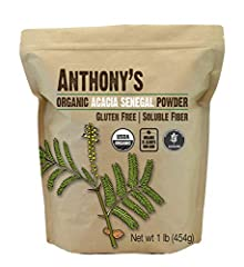USDA Certified Organic Acacia Senegal Fiber, NOT low grade Acacia Seyal Batch Tested and Verified Gluten Free Product of France, packed in California All natural, tasteless, no preservatives, fillers or additives - Plant Based Prebiotic Fine powder, ...