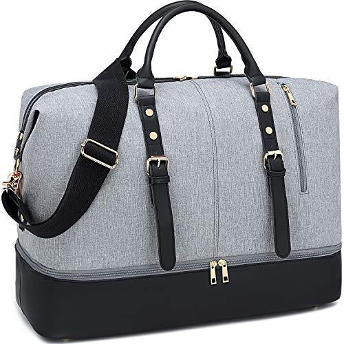 Weekender Carry On Tote Overnight Bag for Men and Women Travel Duffle with Bottom Shoe Compartment (Grey-D)