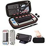 Deluxe Accessory Bundle for Nintendo Switch Lite: Includes Carrying Case, Tempered Glass Protector, TPU Case, Thumb Grips, Playstand, and more (Black)