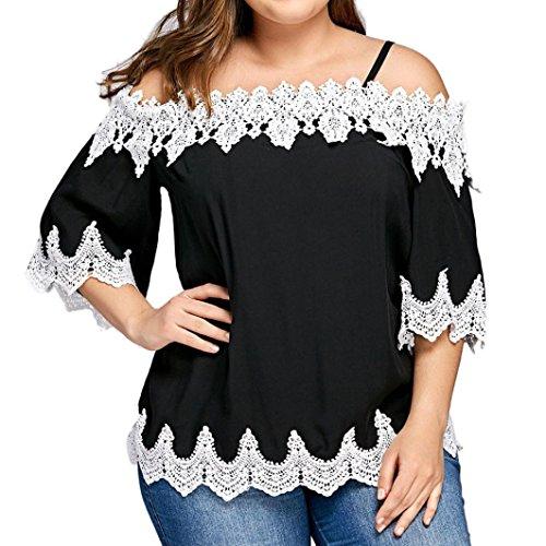 VEMOW Sommer große Größe Frauen Spitze Weg von der Schulter T-Shirt Kurzarm Casual Tops Bluse (52 DE / 4XL CN, Schwarz)