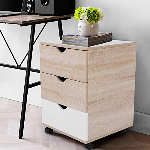 EBTOOLS Nachtkommode Nachttisch Aktenschrank mit 3 Schubladen Nachtschrank mit 4 Rollen Home Office Schlafzimmermöbel, Schubladenlast 30 kg, 40 x 40 x 57 cm