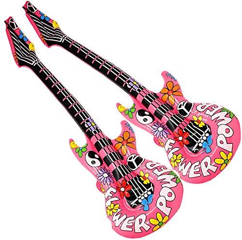com-four 2 Guitarras inflables Estilo Hippie como un Accesorio Divertido, tamaño: 105 cm (Guitarra de Aire - 2 Piezas)