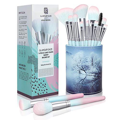 Make Up Pinsel Set Glamour Gaze 14Pcs Bonbonfarben Pinselset Make-up Foundation Lidschatten...