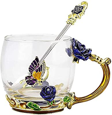 COAWG Glass Tea Cup, Hand Made Enamel Flower Clear Glass Coffee Mug with Handle,BirthdayGift for Women Grandma Mom Female Friend