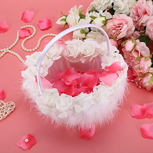 Atyhao Bloemmand, romantische bruiloft bloem snoepjes Basket met strass decoratie bruiloft leveringen