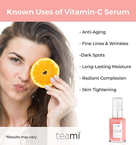 Teami Topical Vitamin C Serum Skin Care with Hyaluronic Acid, Collagen, Salicylic Acid and Vitamin E Oil - Popular K Beauty Korean Skin Care Products - Anti Aging Face Serum for Glass Skin (1 oz)