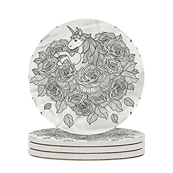 Unicorn Decorative Coasters Roses Bouquet Tattoo Style Round Drinks Absorbent Stone Coaster Set with Ceramic Stone and Cork Base Farmhouse Style for Bar Home Decor Housewarming Gift