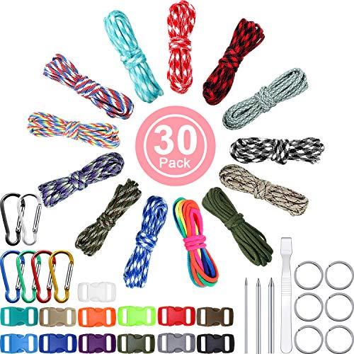 13 Colores 10 Pies Cable de Paracord 550 Cuerdas de Paracord Multifunción Cuerda de Tienda de Campaña al Aire Libre con Hebillas de Llavero, Kits de Fabricación Combinada de Paracord
