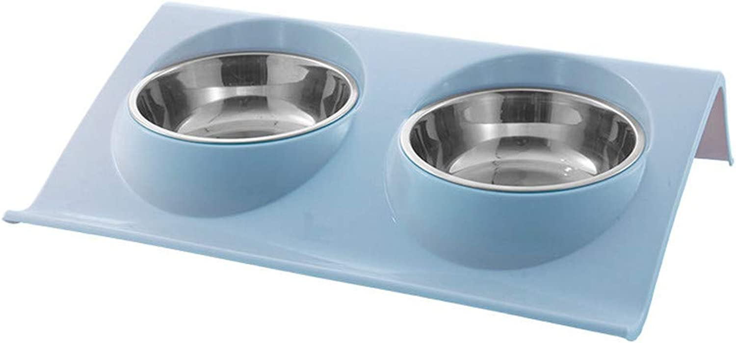 ForeverYou Dog Bowl Dog Basin Cat Bowl Cat Bowl pet Double Bowl Stainless Steel Dog Bowl cat Bowls, B