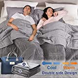 Reversible Weighted Blanket King Size 25lbs(88''x104'', All Season Use), Warm Short Plush and Cool...