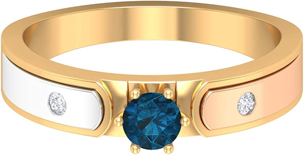 December Max 63% OFF Birthstone - 4 MM London Ring Topaz HI- Blue Solitaire Now on sale