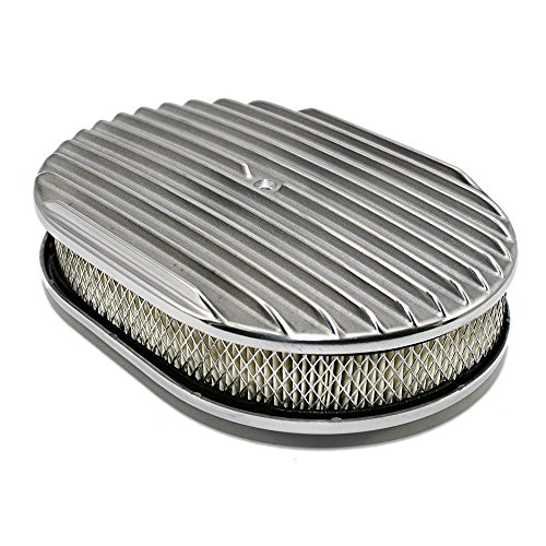 Assault Racing Products A6020-3 12 x 2 Oval Full Finned Polished Aluminum Air Cleaner Assembly Retro