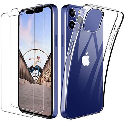 Yoowei Compatibile con iPhone 12 / iPhone 12 PRO Cover Trasparente [3 Pezzi Pellicola Protettiva in Vetro Temperato Incluso], Cover Protettiva Antiurto Morbida e in Silicone per iPhone 12/12 PRO