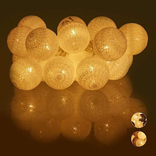 Relaxdays, weiß LED Lichterkette mit 20 Baumwollkugeln, batteriebetrieben, Schalter, Stimmungslichter, Kugeln 6 cm Ø, Standard