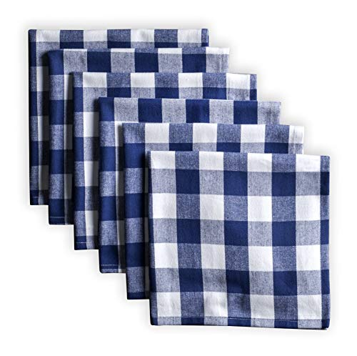 Maison d' Hermine Rosmalen - Blue Depths 100% Cotton Set of 6 Cloth Napkins Soft and Comfortable Reusable for Dinner | Wedding | Home Use | Thanksgiving/Christmas (18 Inch by 18 Inch)