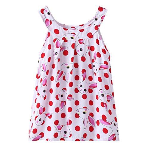 Hirolan Baby Strampler Mädchen Blumenrock Kleinkind Prinzessin Tutu-Kleid Kindermode Sommerkleider Ärmelloses Cocktailkleid Baumwolle Badebekleidung Shirtkleid Taufbekleidung (120CM, Rot)