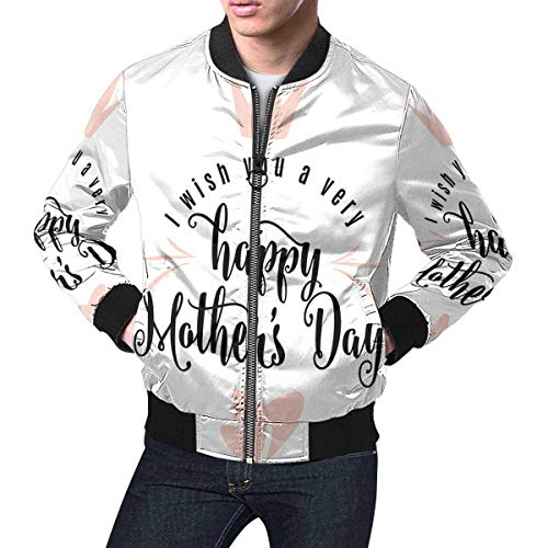 INTERESTPRINT Men's Lightweight Jacket Windbreaker Happy Mothers Day Holiday I Love You, The Best Mom XS