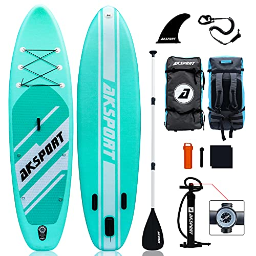 AKSPORT 10'6'×32'×6' Inflatable Stand Up Paddle Board with Premium Non-Slip Deck,Travel Backpack,Adjustable