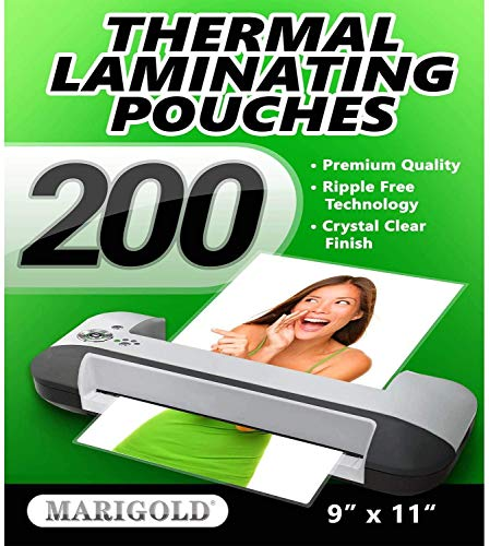 Marigold 200-Pack Thermal Laminating Pouches - Diamond Clear 9 x 11.5 inches Laminating Sheets Film