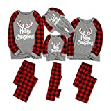 IFFEI Matching Family Pajamas Sets Christmas PJ's with Letter and Plaid Printed Long Sleeve Tee and Pants Loungewear Women-Medium