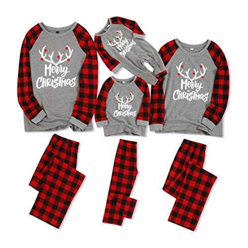 IFFEI Matching Family Pajamas Sets Christmas PJ's with Letter and Plaid Printed Long Sleeve Tee and Pants Loungewear 6-7 Years