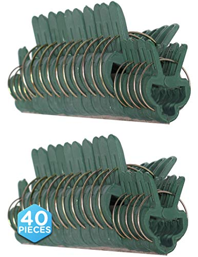 Ram-Pro 40 Piece Green Gentle Gardening Plant & Flower Lever Loop Gripper Clips, Tool for Supporting or Straightening Plant Stems, Stalks, and Vines