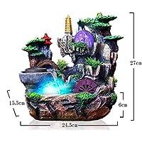 GL-GL-Indoor fountain Fuente de Agua de Mesa de Interior Resina Ambiental con atomizador Decoración para el hogar en Cascada con Luces LED de Colores (Bomba de Agua incluida)