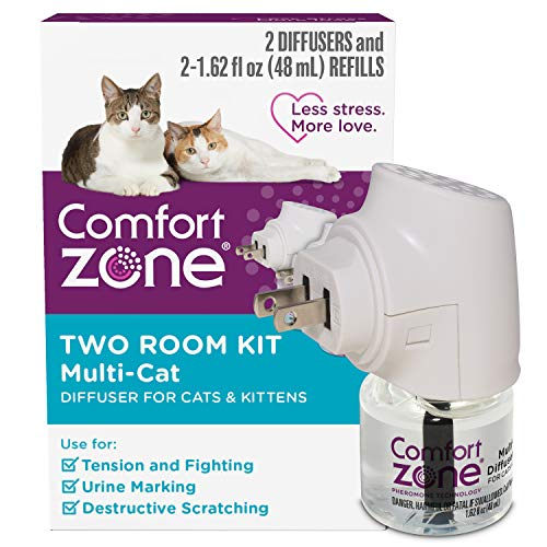 Comfort Zone Cat Calming Diffuser for Multi-Cat Homes to Stop Cat Fighting and Reduce Problem Behavior, Vet Recommended, 2 Diffusers and 2 Refills (48ml)