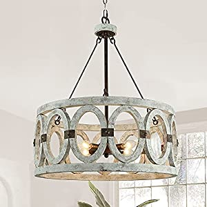 Vintage Country Chandelier Farmhouse for Dinning Room, Round Pendant Light Fixture, Hand-Painted Distressed White, Olive Solid Wooden Brackets Rustic Metal 4-Light Arms D20 X H27 inch