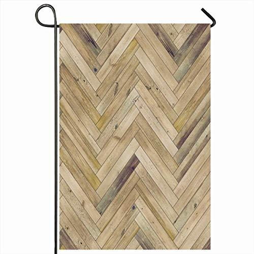PQU Awesome Outdoor Seasonal Flag,Zufälliger Pfeil Holz Esche Bodenbelag Parkett Textur Fischgrätenboden Alt Abgenutzte Innenräume Texturen Panel Dekorative Gartenflaggen,32x45.7cm