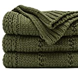 RECYCO Acrylic Solid Color Knitted Throw Blanket 50'x60' Cable Textured Decorative Throw Blanket for Couch Chairs Bedroom Office Home Decor (Moss Green)