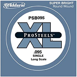 D'Addario PSB095 ProSteels Bass Guitar Single String, Long Scale.095