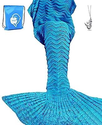 LAGHCAT Mermaid Tail Blanket Knit Crochet Mermaid Blanket for Adult/Kids, Oversized Sleeping Blanket, Wave Pattern