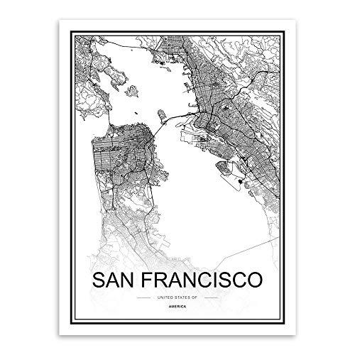 JYWDZSH Leinwanddruck Schwarz-Weiß-Weltstadtplan San Francisco Poster Nordisches Wohnzimmer Wandkunst Bilder Wohnkultur Leinwandbilder, 50x70cm ohne Rahmen