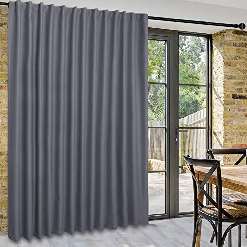 DWCN Patio Sliding Door Curtains - Extra Wide Curtains for Glass Door, Room Divider Blackout Thermal Curtain Panel with Back Tab & Rod Pocket for Bedroom Partition, 100 x 84 Inches, Dark Grey