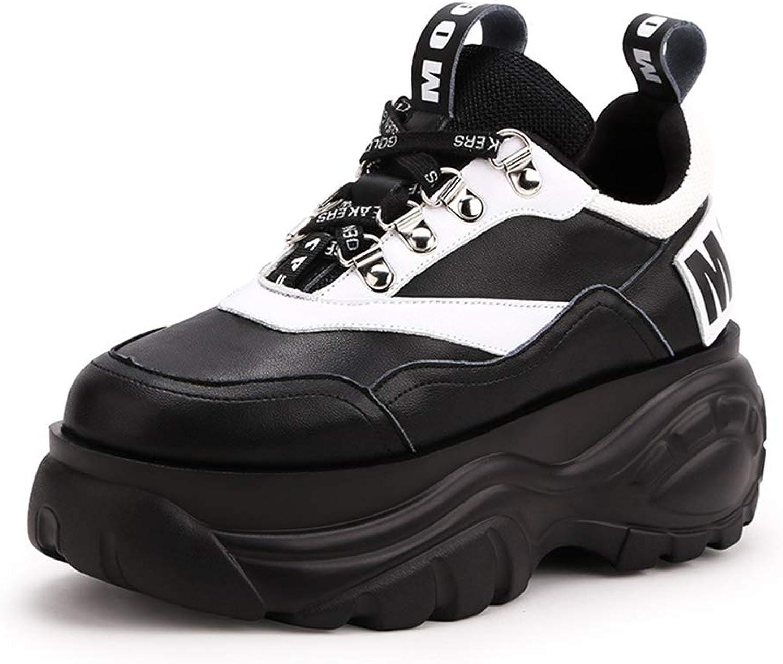 YAN Damenschuhe Spring  Herbst Leder Plattform Freizeitschuhe Komfort Star Pattern Schuhe Plattform Schuhe Outdoor Wanderschuhe