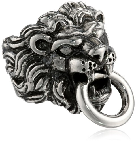 King Baby Men's Lion's Head Sterling Silver Ring, Size 10